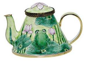 Art Gifts Frog Lilypad Enameled Hinged Miniature Teapot