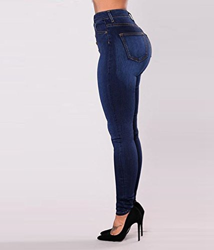 Alta Donna Moda Casuale Blu Matita Stretch Skinny Vita Nero Jeans Denim Pantaloni Dooxi zxd1pwqd