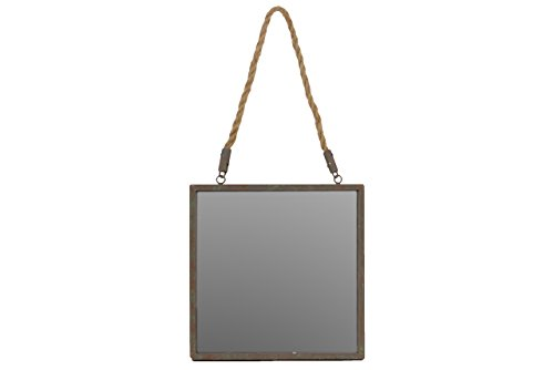 Urban Trends Metal Square Mirror with Verdigris Highlights & Rope Hanger Rust Finish Brown by Urban Trends