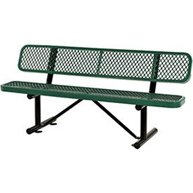 72″L Expanded Metal Mesh Bench w/Back Rest, Green