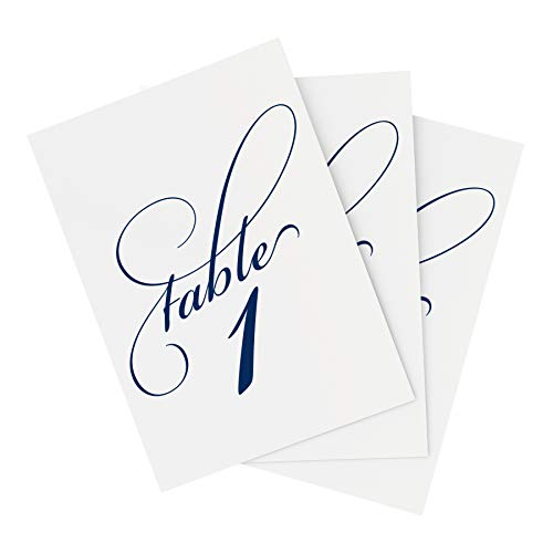 - Navy Wedding Table Numbers (Assorted Color Options Available), Double Sided 4x6 Calligraphy Design, Numbers 1-25 & Head Table Card Included — from Bliss Paper Boutique