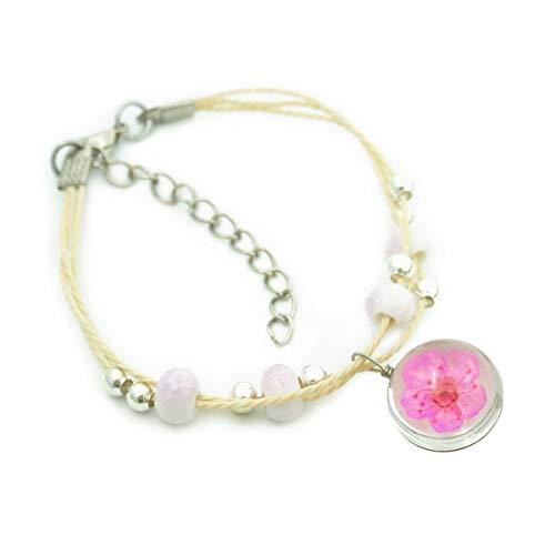 ed Wish Bracelet Dried Pressed Dandelion Babysbreath Peach Blossom Glass Ball with Ceramic Beads Handmade Braided Bracelet (Peach Blossom Rose Red) ()