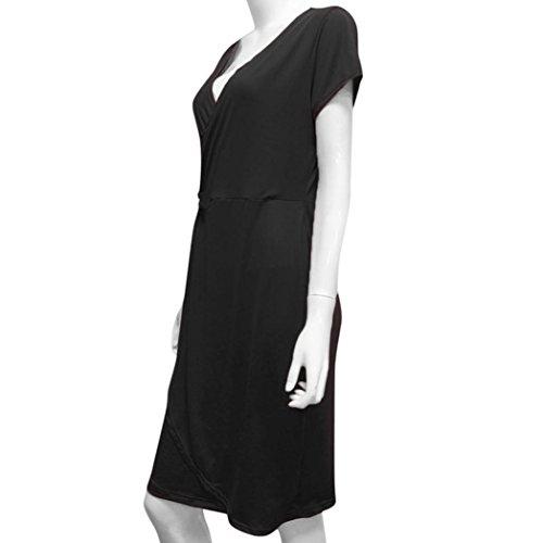 Femmes Longues pour V Manches Manches en pour d't col Femmes Noir Robe Courtes d't Robe SAMLIKE qxtwSa8t