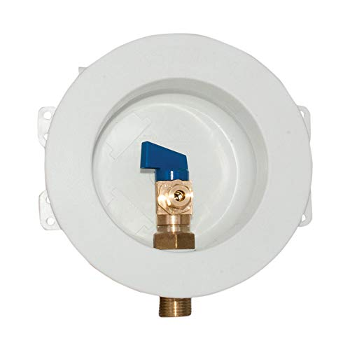 Eastman 60237 Sweat Round Mini Ice Maker Outlet Box, 1/2-inch Sweat Connection with Installed 1/4-Turn Ball Valve, White (Refrigerator Outlet Box)