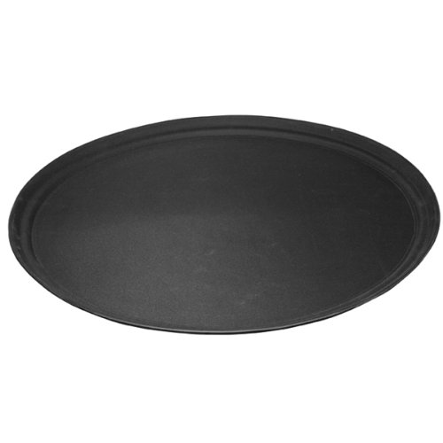 Non Slip Oval Tray Black | Anti Skid Drinks Tray | Large Waiters Tray with Rubber Grip Surface