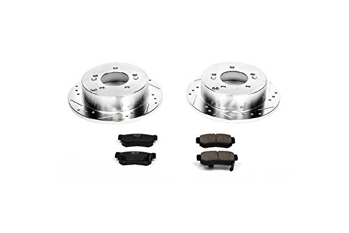 Slotted Sonata Hyundai (Power Stop K5214 Rear Z23 Evolution Brake Kit with Drilled/Slotted Rotors and Ceramic Brake Pads)
