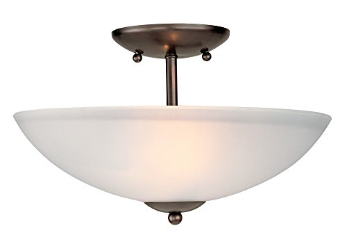 Semi Flush 100w (Maxim 10042FTOI Logan 2-Light Semi-Flush Mount, Oil Rubbed Bronze Finish, Frosted Glass, MB Incandescent Incandescent Bulb , 100W Max., Dry Safety Rating, Standard Dimmable, Glass Shade Material, 3450 Rated Lumens)