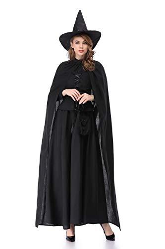 XSQR Halloween Noël Cosplay Femme Sorcière Cloak Black,Black,M]()
