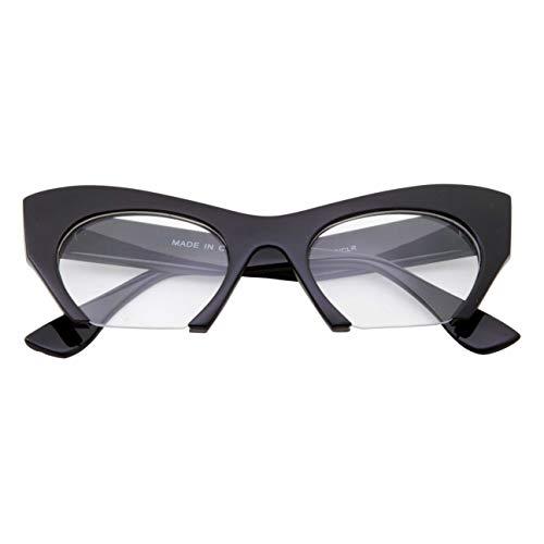 Semi Rimless Cat Eye Glasses Clear Lens Half Frame Cut Off Bottom