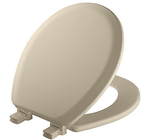 MAYFAIR Toilet Seat will Never Loosen and Easily Remove, ROUND, Durable Enameled Wood, Bone, 41EC 006