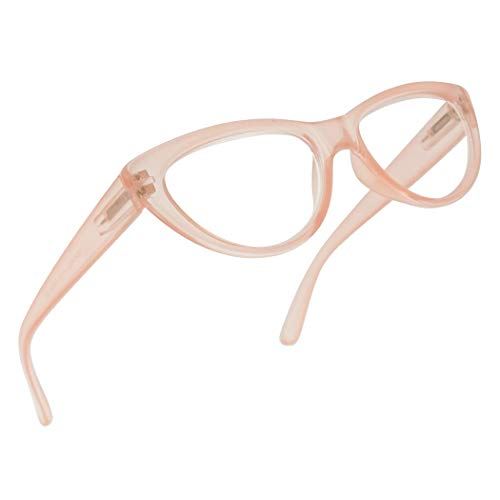 Small and Narrow Candy Colored Chic Cat Eyes Reading Readers Glasses with Spring Hinge (Pink, 1.00) ()