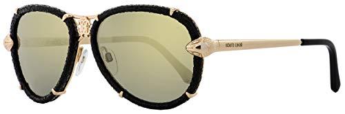 Roberto Cavalli Mebsuta RC 885S 885/S 28C Black/Gold Leather Aviator Sunglasses