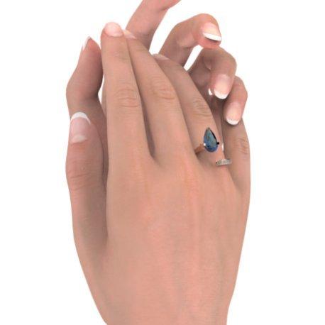 ZIGZAG PEAR Bagues Or Rose 18 carats Saphir Bleu 0,6 Rond