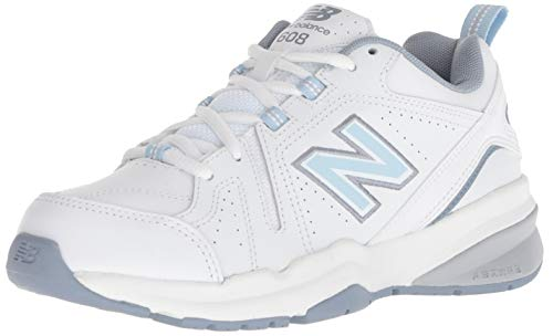 New Balance Women's 608v5 Casual Comfort Cross Trainer, White/Light Blue, 12 B US