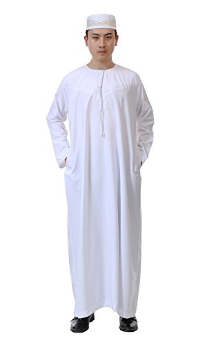 GladThink Men's Arab Muslim Islamic Church Worship Long Thobe with Long Sleeves 60 by GladThink