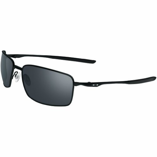 Oakley Square Wire Non-Polarized Iridium Rectangular Sunglasses,Polished Black,60 - Wire Polarized