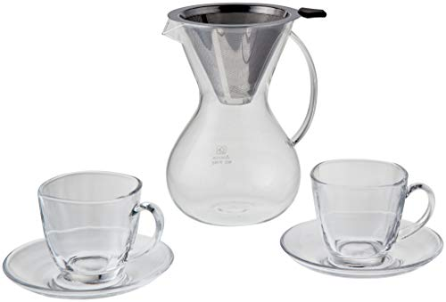 28oz (800ml) Pour Over Coffee Maker/Dripper Carafe with Coffee Cup and Saucer Set (2) with Reusable Permanent Zero Waste Stainless Steel Filter. Made with Durable Borosilicate Glass!