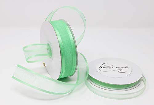 Mint Organza Ribbon With Satin Edge-25 Yards X 3/8 Inches