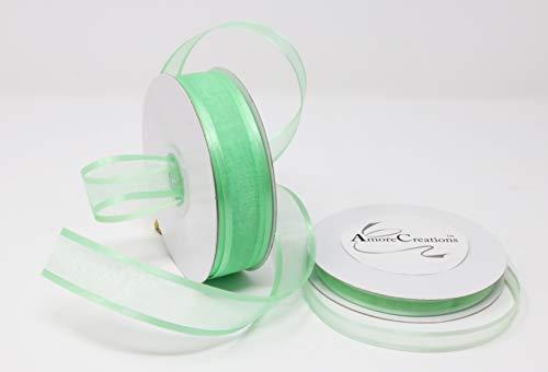 Mint Organza Satin Edge Ribbon - Mint Organza Ribbon With Satin Edge-25 Yards X 3/8 Inches