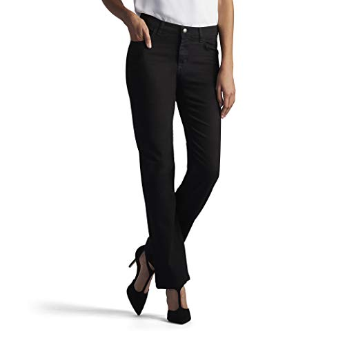 (LEE Women's Size Tall Relaxed Fit Straight Leg Jean, Black Onyx, 12)