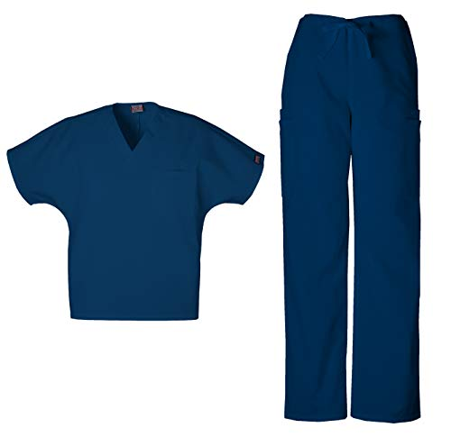 Cherokee Workwear Men's Dental/Medical Uniform Scrub Set - 4777 V-Neck Scrub Top & 4000 Drawstring Cargo Pants (Navy - XXX-Large/XX-Large)