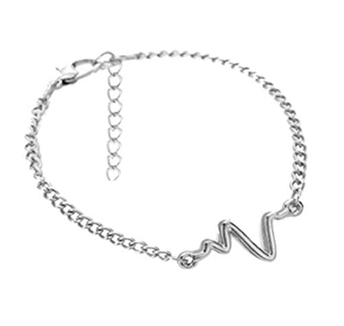 A2S2 Fashion 1pc Lovers Unisex Silver Simple Personality Heartbeat ECG Bracelet Electrocardiogram Lightning Jewelry Accessories (B07YLQ9V4M) Amazon Price History, Amazon Price Tracker