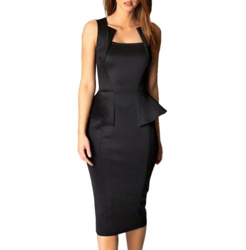 HRYfashion knielang Damen schwarz aermellos Kleid 6150 elegantes rwrnqHBg