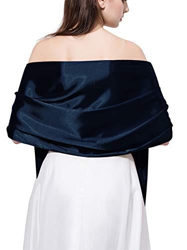 Satin Scarf Long Lightweight Shawls for Women(DDNPJ1) (Navy Blue)