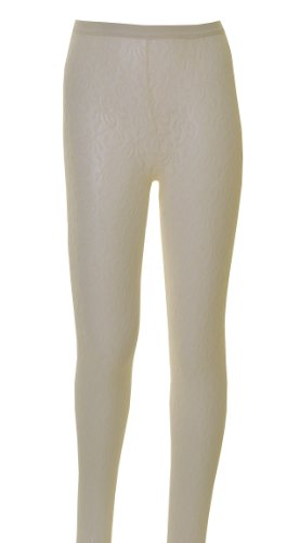 1 Pair of Girls Floral Lace, Tights Age 11 to 14 Cream by Nifty Kids
