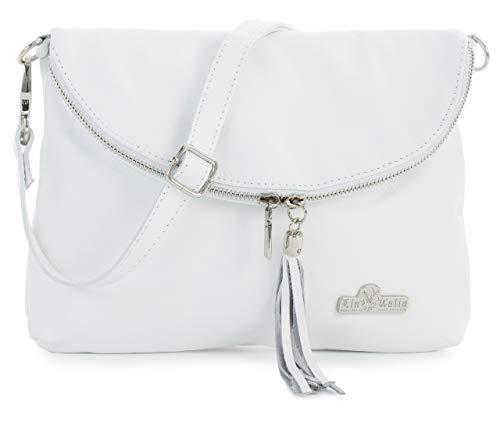 LIATALIA Real Italian Soft Leather Messenger Cross Body Shoulder Bag Small/Medium Size - AMY White