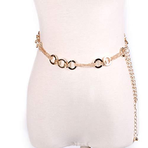 Van Caro Women Trendy O Rings Metal Link Waist Chain Belt Body Jewelry Dress Belt ()