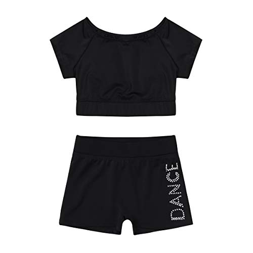 Agoky Girls Short Sleeves Crop Tops with Booty Shorts Gymnastics Leotard Ballet Dancewear