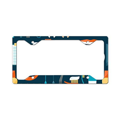 (Style In Print Custom License Plate Frame Dental Icons Green-Blue White Aluminum Cute Car Accessories Narrow Top Design Only One Frame )