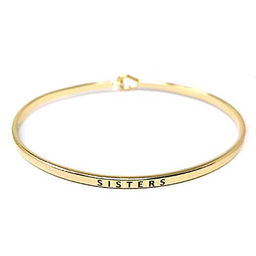 by you Inspirational Sisters Message Engraved Thin Cuff Bangle Hook Bracelet (Sisters-Gold, Brass)