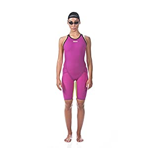 Arena Women's Limited Edition Powerskin Carbon Flex VX Open Back Tech Suit Swimsuit, Fuchsia-Fluo Yellow – 30