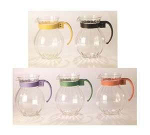 Tahiti Pitcher - 90 oz. 8.75 inch Tahiti Pitcher Amber with Black Handle 8.75 inch Tall 2 Boxes of 6 Amber Polycarbonate 12 Ct