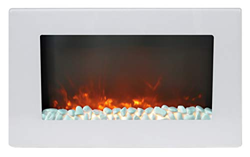 Cambridge Callisto 30 In. Wall-Mount Electric Fireplace in White with Crystal Rock Display (Electric Flat Panel Wall Mount Fireplace Heater)