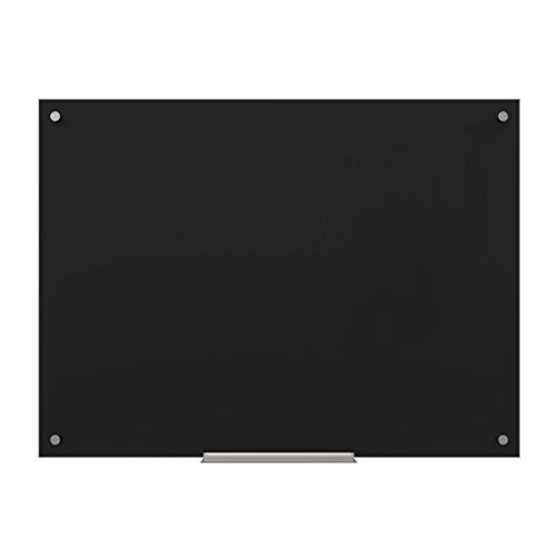 U Brands Glass Dry Erase Board, 47 x 35 Inches, Black Surface, Frameless by U Brands
