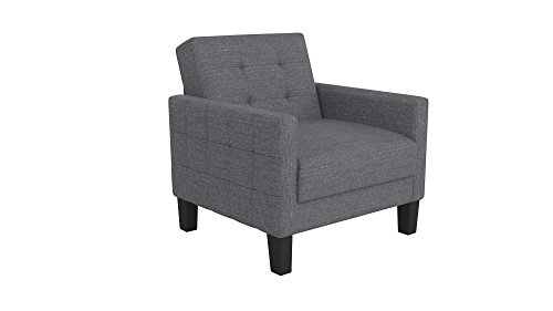 DHP Miller Chair in Rich Linen Upholstery, Modern Style with Track Arms, Grey - Futon Living Room Sets