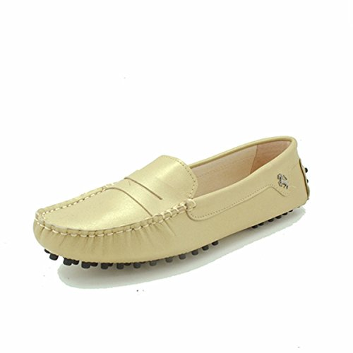 Leather Casual Moccasins Driving on Slip Flats Luxury Goeao Boat Classic Champagne Womens Loafers Shoes 1xtqwn5Y