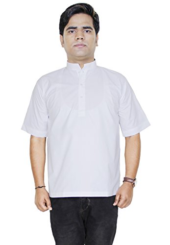retro-style-cotton-kurta-men-shirt-short-sleeve-stand-collar-yoga-dress-size-l