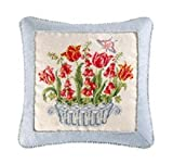 18x18 Inches Needle Point Pillow with Cord, Tulip and Foxglove Basket, Butterfly