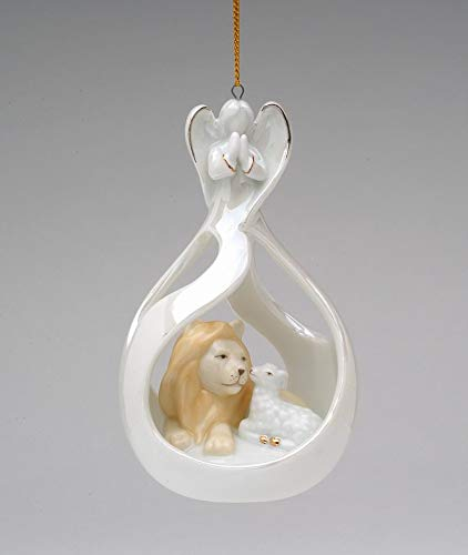 Angel Peace Ornament - Cosmos Gifts Fine Porcelain Eternal Peace on Earth Angel, Lion and Lamb Christmas Tree Ornament, 4-1/2