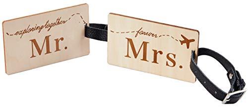 Travelambo Mr Mrs honeymoon Luggage Tags Wood Travel Cute Couples Gift (2 pcs set)