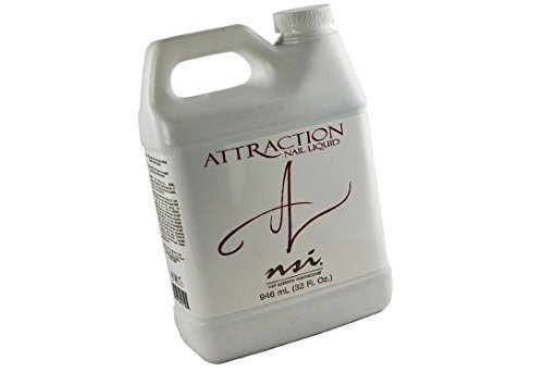 nsi Attraction Acrylic Nail Liquid is the most highly-advanced monomer on the market today offering quicker, easier pick up and unsurpassed strength and flexibility. - Size 32 fl oz / 946 ml