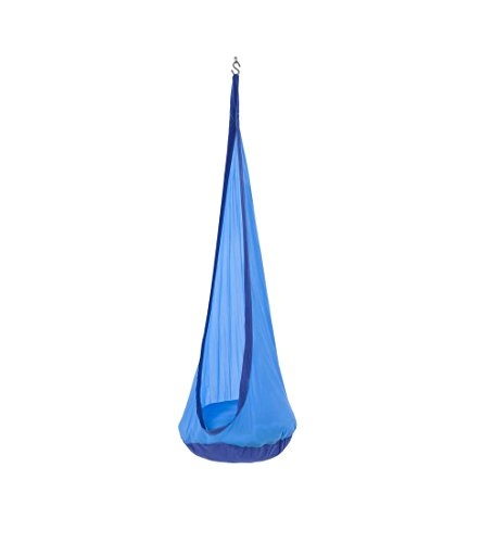 HugglePod Lite Indoor Outdoor Hanging Hammock Chair, Durable Lightweight Nylon with Reinforced Hanging Strap, Max Weight 175 LBS, 64 H x 24 W - Blue ()