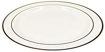 "50Pieces Gold Plastic Plates, White Disposable Plates with Gold Rim, comprises 25 Dinner Plates 10.25"", 25 Dessert Plates 7.5"""