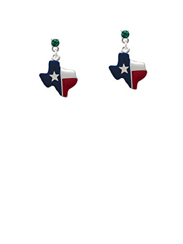 Red and Blue Texas Green Crystal Post Earrings