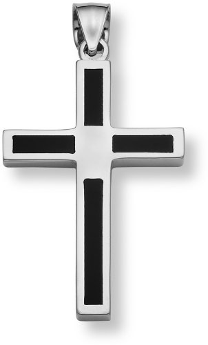 14K White Gold Onyx Cross Pendant