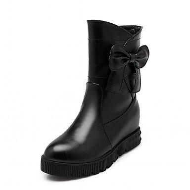 RTRY Zapatos De Mujer De Piel Sintética Invierno Primavera Moda Botas Botas Bota De Tacón De Cuña Round Toe Botines/Botines Bowknot Casual Para Boda US10.5 / EU42 / UK8.5 / CN43